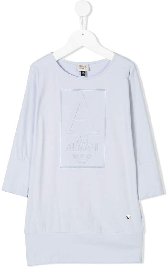 Armani Junior raised logo sweatshirt dress