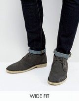 Asos Wide Fit Desert Boots In Grey Suede