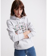 Superdry Cotton Mix Hoodie with Floral Logo and Kangaroo Pocket