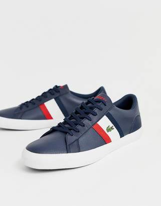 Lacoste Lerond trainers with side stripe in navy leather