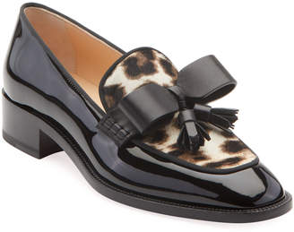 Christian Louboutin Carmela Patent Loafers with Leopard Calf Hair