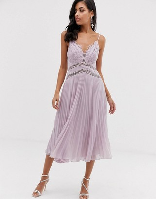 ASOS DESIGN midi dress with lace bodice and delicate lace trim details