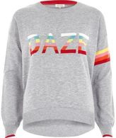 River Island Womens Grey knit multi color 'daze' sweater
