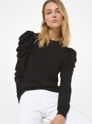 Michael Kors Merino Wool-Blend Ruched-Sleeve Sweater