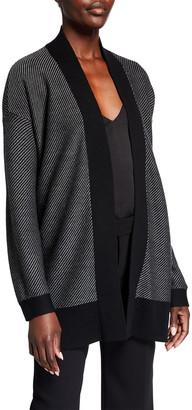 Eileen Fisher Striped Wool Shawl Collar Cardigan