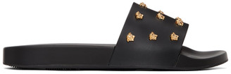 Versace Black Leather Medusa Stud Slides