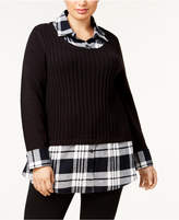 Style&Co. Style & Co Plus Size Ribbed-Knit Layered-Look Sweater, Created for Macy's