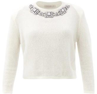 Christopher Kane Crystal-embellished Cashmere-blend Sweater - White