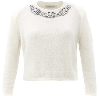 Christopher Kane Crystal-embellished Cashmere-blend Sweater - Womens - White