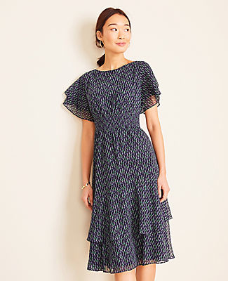 Ann Taylor Petite Floral Smocked Waist Flare Dress