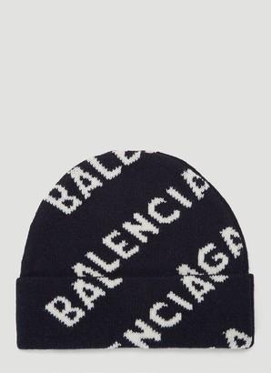 Balenciaga Intarsia Logo Beanie Hat