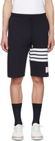 Thom Browne Navy Classic Four Bar Lounge Shorts