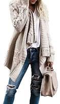 FISACE Women Fashion Weave Knit Long Sleeve Open Front Sweater Cardigan Outerwears