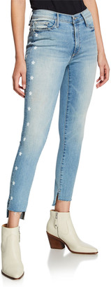 Black Orchid Miranda Bath Water Off-Step Hem High Rise Skinny Jeans w/ Stars
