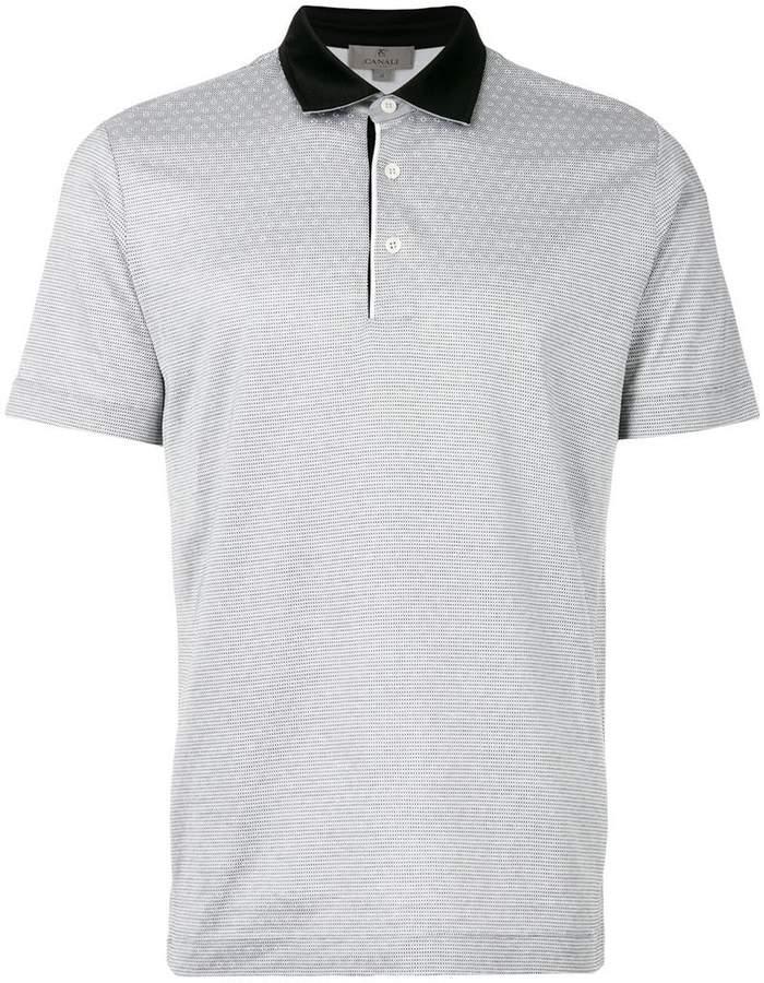 Canali patterned polo shirt