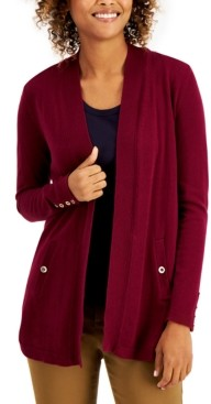 Charter Club Solid Curved-Hemline Cardigan Sweater, Created for Macy's
