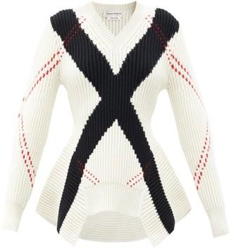 Alexander McQueen Peplum Argyle-knit Wool-blend Sweater - Ivory