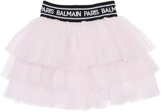 Balmain Glittered Stretch Tulle Skirt