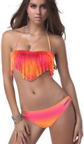 Pandolah Sexy Women Bikini Swimwear Colorful Fringe Tassels Swimsuits