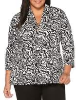Rafaella Plus Floral Chain Front Cotton Top