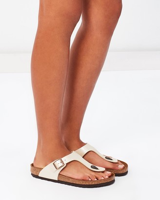 Birkenstock Women's White Flat Sandals - Gizeh Regular - Size 36 at The Iconic