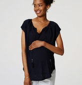 LOFT Petite Maternity Embroidered Yoke Tassel Tee