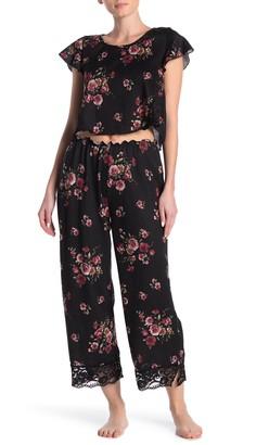 Blue Moon Pink Star Rose Print Pajama Pants