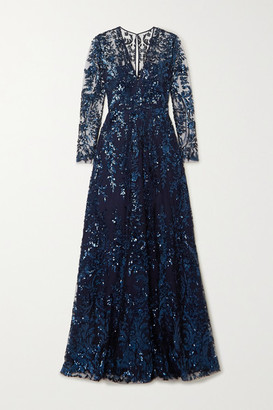Naeem Khan Sequined Tulle Gown - Navy