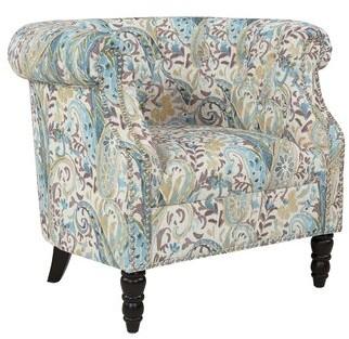 "Three Posts Huntingdon 21"" Chesterfield Chair Fabric: Sky Blue Multi Paisley"