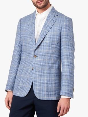 Jaeger Linen Silk Blend Overcheck Regular Fit Blazer, Light Blue