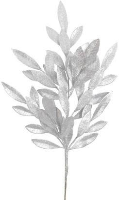 Vickerman Silver Glitter 22-inch Bay Leaf Spray