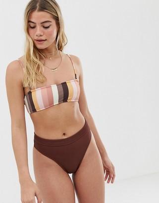 rhythm Palm Springs Xanadu rib high leg bikini bottom in mulberry