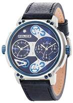 Police Men's Quartz Watch with Blue Dial Analogue Display and Blue Leather Strap 14693JSTBL/03