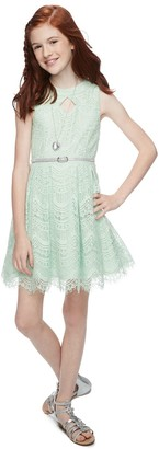 Knitworks Girls 7-16 & Plus Size Knit Works Lace Skater Dress Set