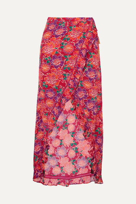 Paloma Blue - Stevie Ruffled Floral-print Crepe De Chine Wrap Maxi Skirt - Red