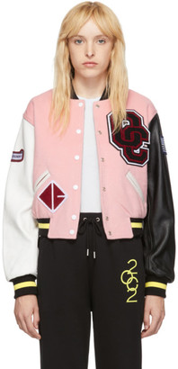 Opening Ceremony Pink Shrunken Varsity Jacket.
