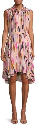 Sleeveless Abstract-Print Shirtdress