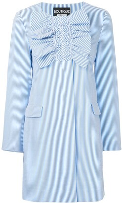 Boutique Moschino Ruched Striped Coat