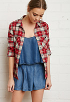Forever 21 FOREVER 21+ Button-Tab Sleeve Plaid Shirt