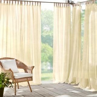 Josie Accessories Darien Solid Indoor/Outdoor Sheer Velcro Tab Top Window Curtain Panel