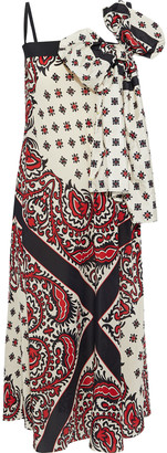 RED Valentino Bow-embellished Printed Silk Crepe De Chine Midi Dress