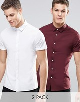 Asos Skinny Shirt In White And Burgundy With Short Sleeves 2 Pack