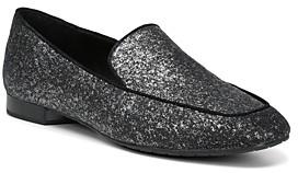 Donald J Pliner Women's Honey Almond Toe Glitter Suede Flats