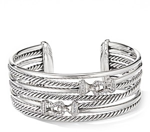 David Yurman Sterling Silver Cable Buckle Crossover Cuff Bracelet with Diamonds