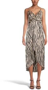 Bar III Printed Hammered Satin Twist-Front Midi Dress, Created for Macy's