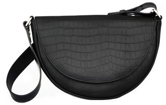 Croco Crescent Sling Bag Black