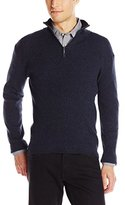 DKNY Men's Long Sleeve 1/4 Zip Rib Marl Mock Neck Sweater