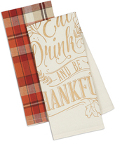 'Be Thankful' & Orange Plaid Dish Towel Set