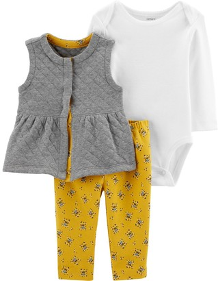 Carter's Baby Girl 3-Piece Floral Little Vest Set