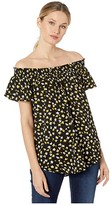 MICHAEL Michael Kors Off-Shoulder Smock Top (Black/Bright Dandelion) Women's Clothing